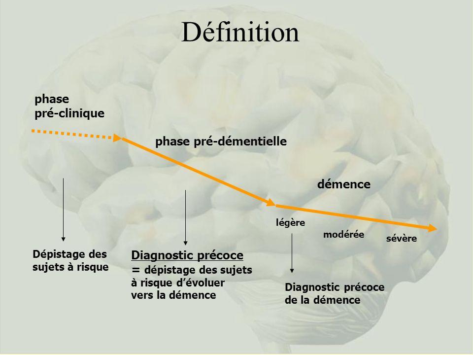 Définition  phase pré-clinique phase pré-démentielle démence