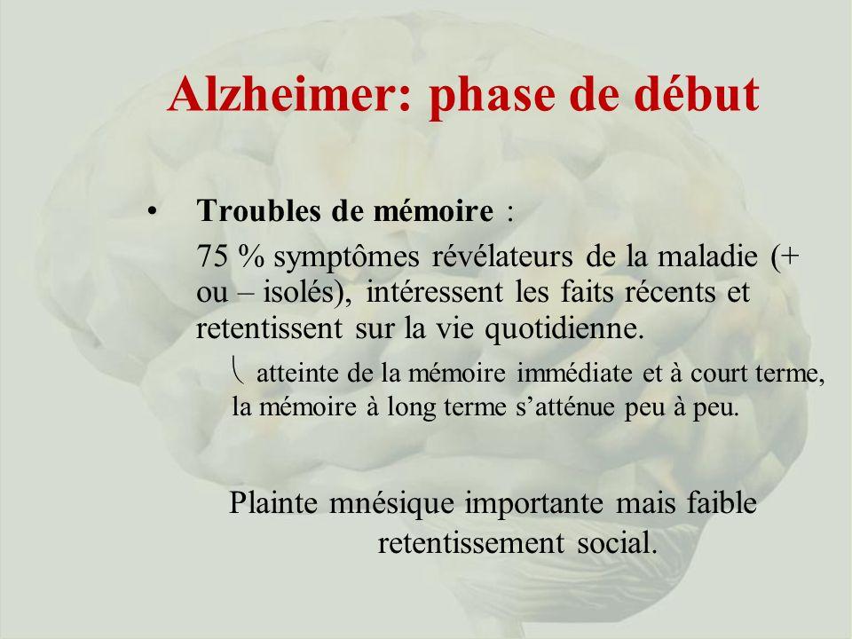 Alzheimer: phase de début
