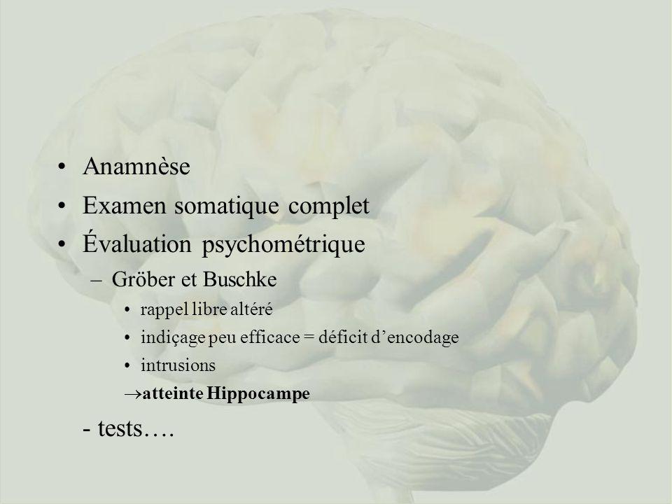 Examen somatique complet Évaluation psychométrique