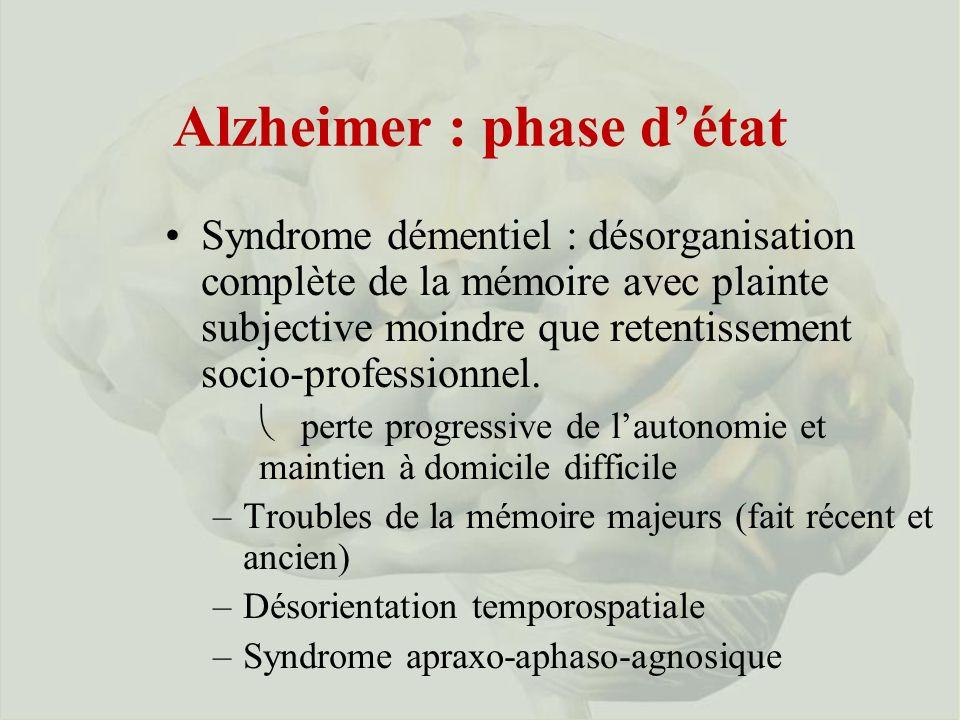Alzheimer : phase d'état