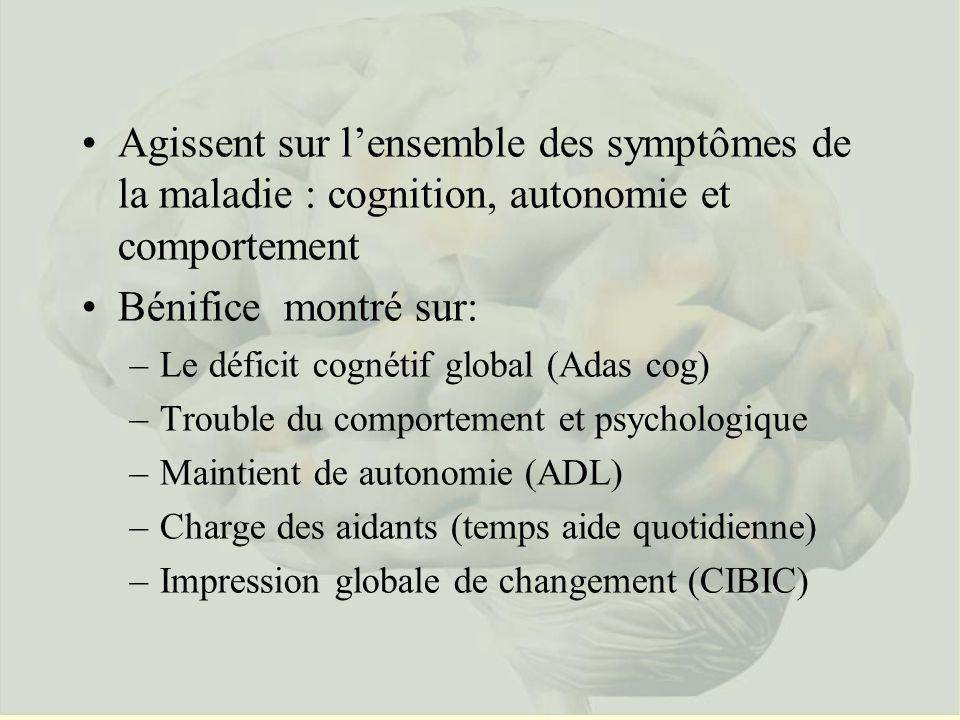 Agissent sur l'ensemble des symptômes de la maladie : cognition, autonomie et comportement