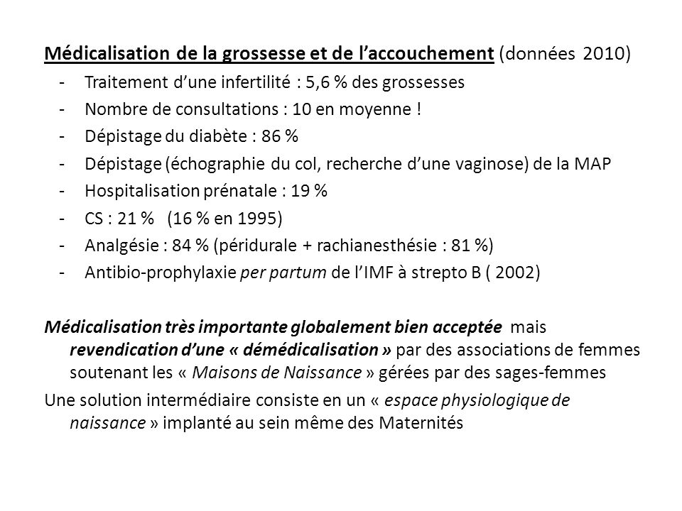 Médicalisation de la grossesse et de l'accouchement (données 2010)