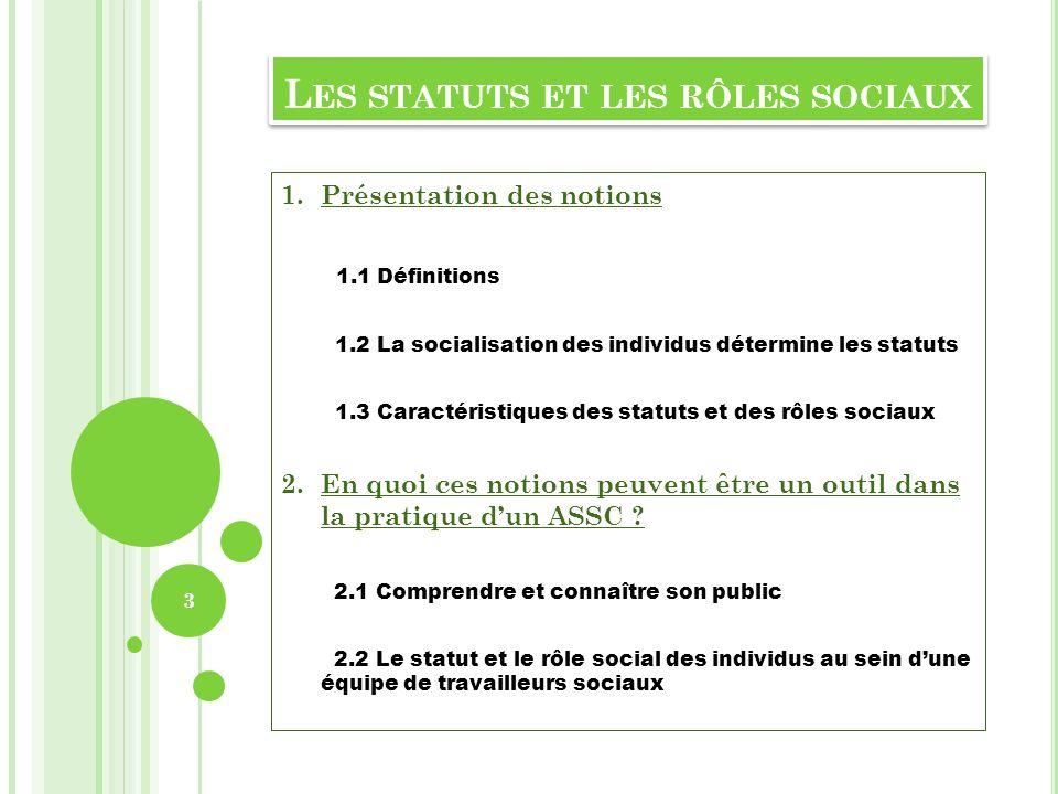 Les statuts et les rôles sociaux
