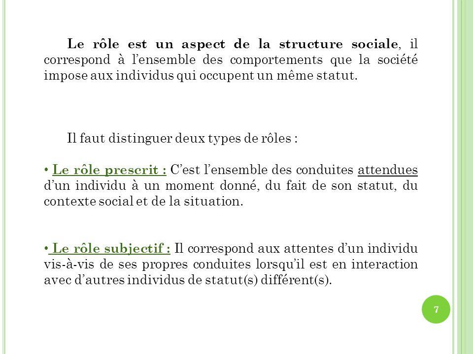 Le rôle est un aspect de la structure sociale, il correspond à l'ensemble des comportements que la société impose aux individus qui occupent un même statut.