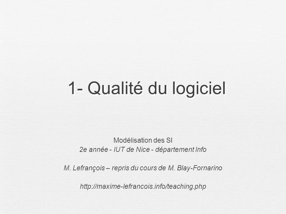 1- Qualité du logiciel Modélisation des SI