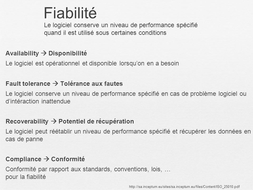 Fiabilité Le logiciel conserve un niveau de performance spécifié