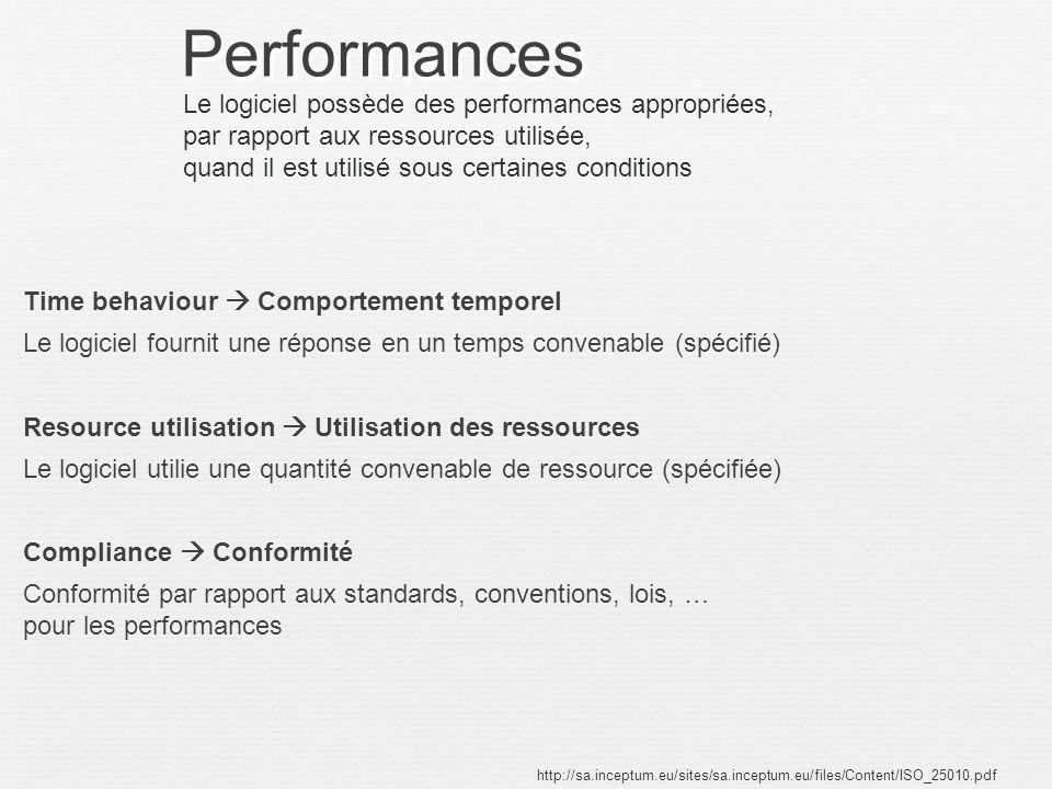 Performances Le logiciel possède des performances appropriées,