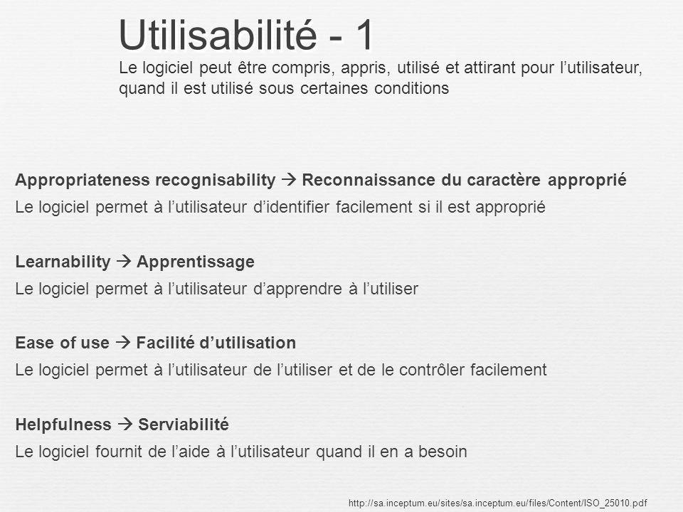 Utilisabilité - 1 Le logiciel peut être compris, appris, utilisé et attirant pour l'utilisateur, quand il est utilisé sous certaines conditions.