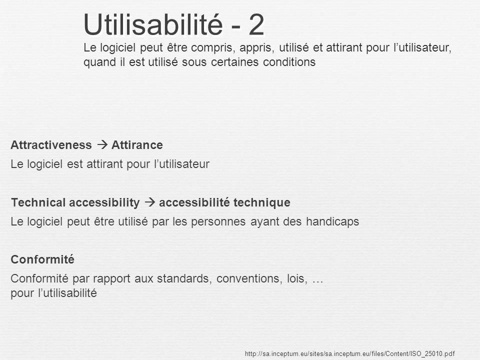 Utilisabilité - 2 Le logiciel peut être compris, appris, utilisé et attirant pour l'utilisateur, quand il est utilisé sous certaines conditions.