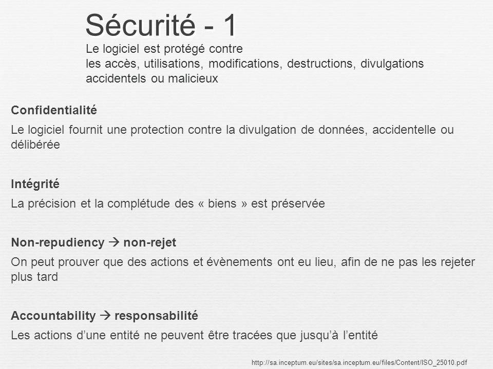 Sécurité - 1 Le logiciel est protégé contre