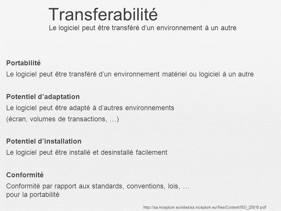 Transferabilité Le logiciel peut être transféré d'un environnement à un autre.