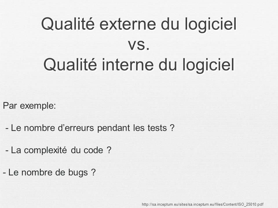 Qualité externe du logiciel vs. Qualité interne du logiciel