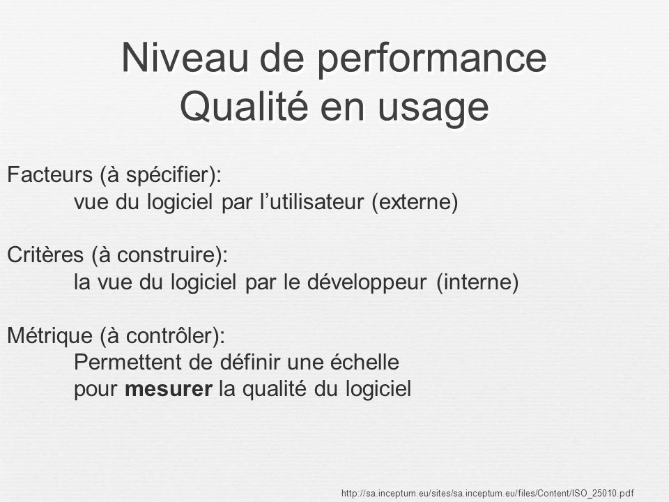 Niveau de performance Qualité en usage