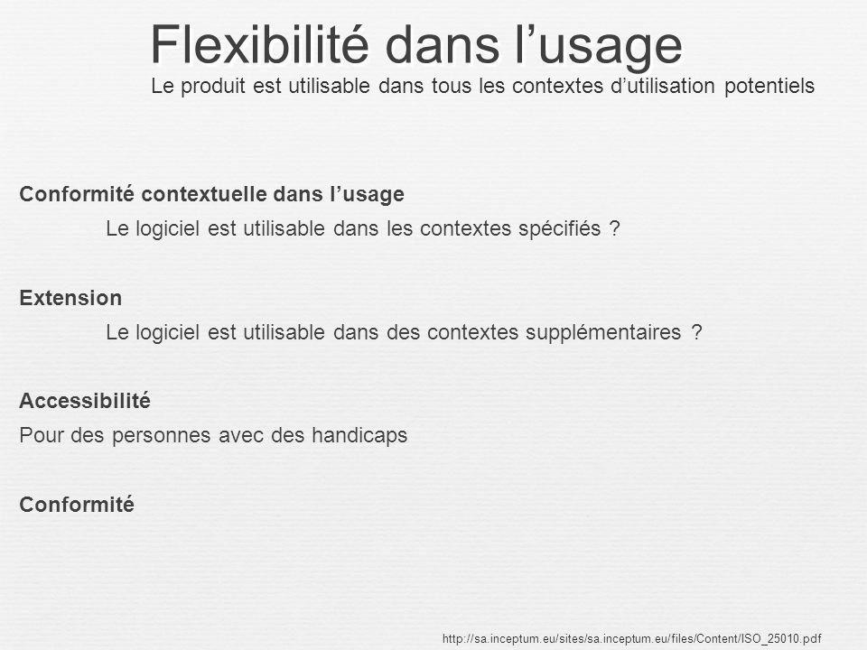 Flexibilité dans l'usage