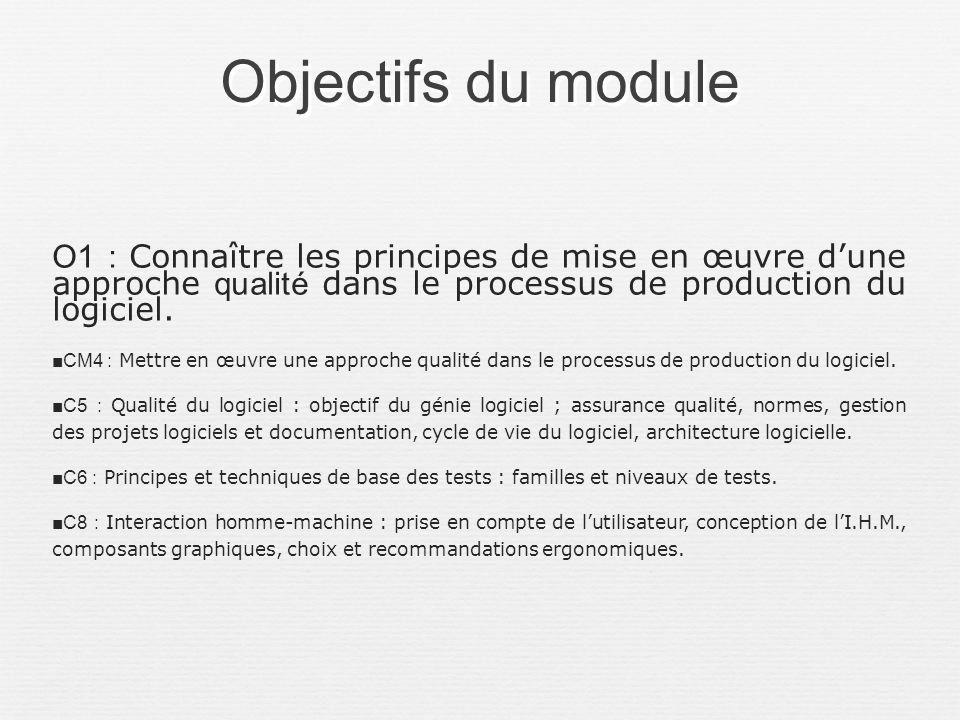 Objectifs du module O1 : Connaître les principes de mise en œuvre d'une approche qualité dans le processus de production du logiciel.