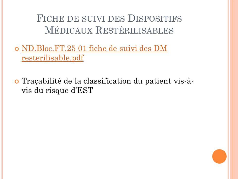 Fiche de suivi des Dispositifs Médicaux Restérilisables