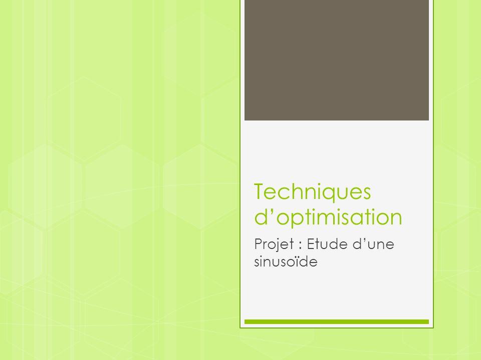 Techniques d'optimisation