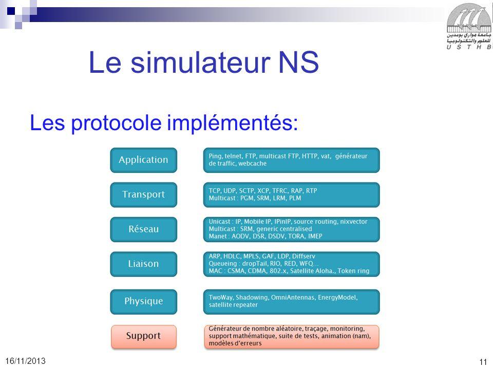 Le simulateur NS Les protocole implémentés: