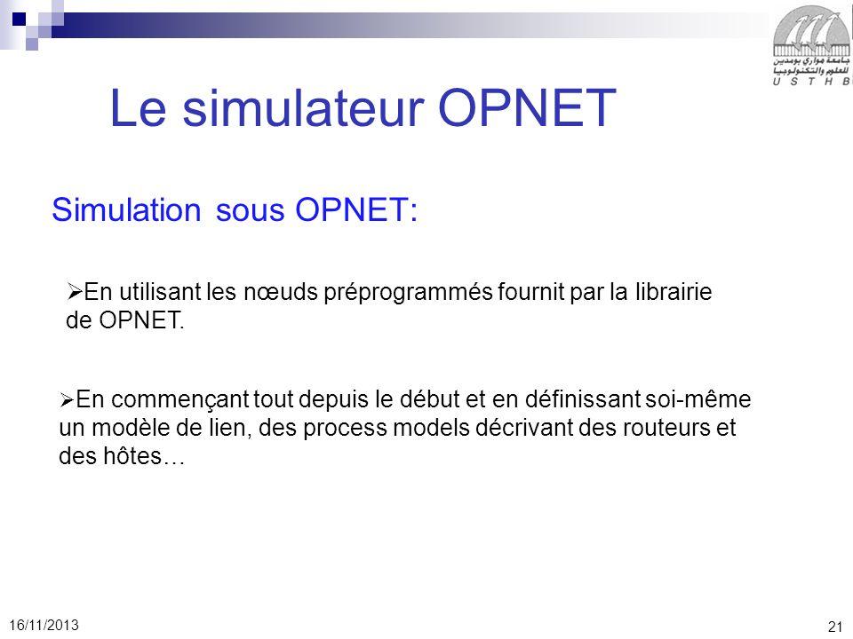 Le simulateur OPNET Simulation sous OPNET: