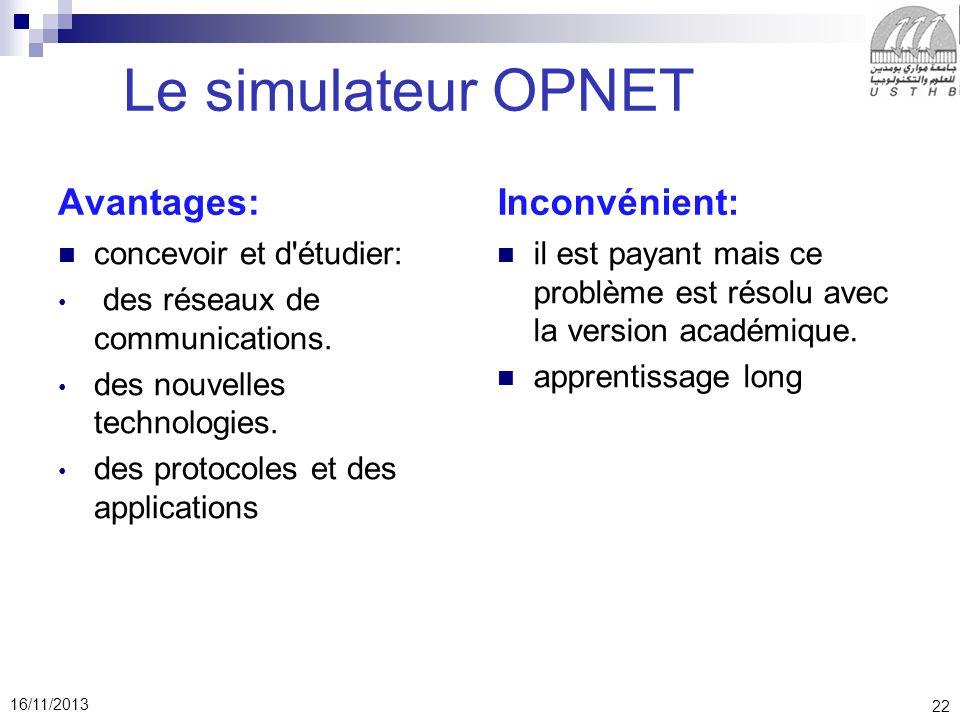 Le simulateur OPNET Avantages: Inconvénient: concevoir et d étudier: