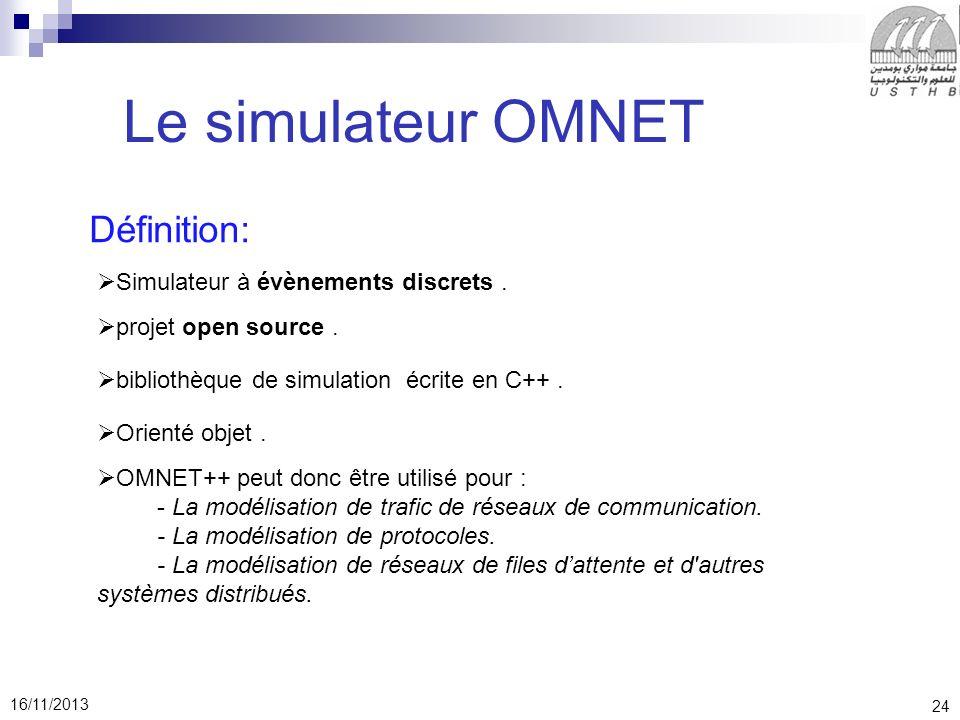 Le simulateur OMNET Définition: Simulateur à évènements discrets .