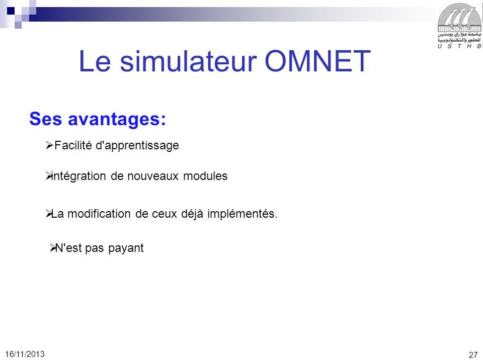Le simulateur OMNET Ses avantages: Facilité d apprentissage