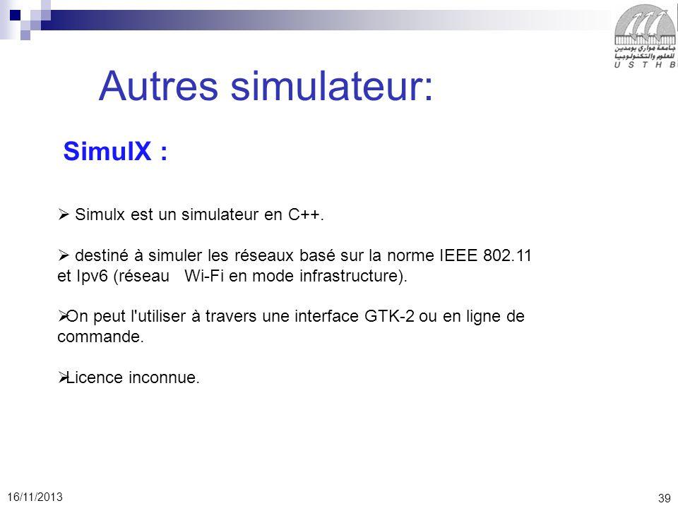 Autres simulateur: SimulX : Simulx est un simulateur en C++.