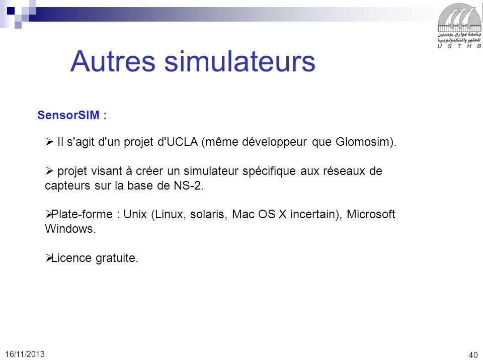 Autres simulateurs SensorSIM :