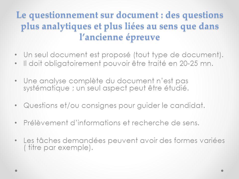 Le questionnement sur document : des questions plus analytiques et plus liées au sens que dans l'ancienne épreuve