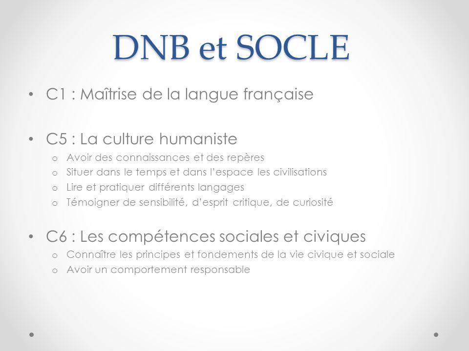 DNB et SOCLE C1 : Maîtrise de la langue française