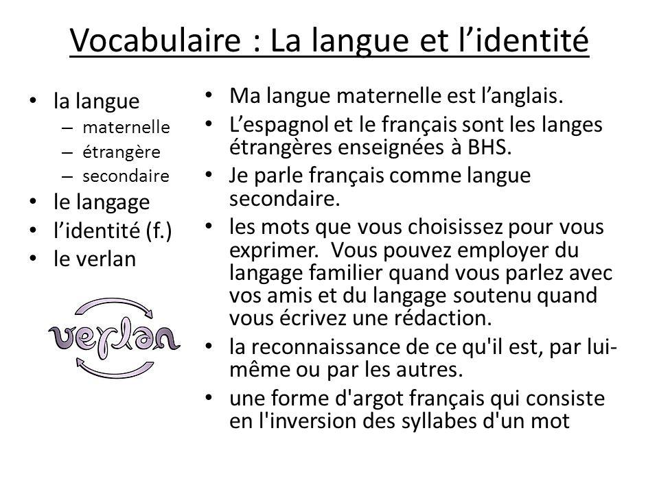 Vocabulaire : La langue et l'identité