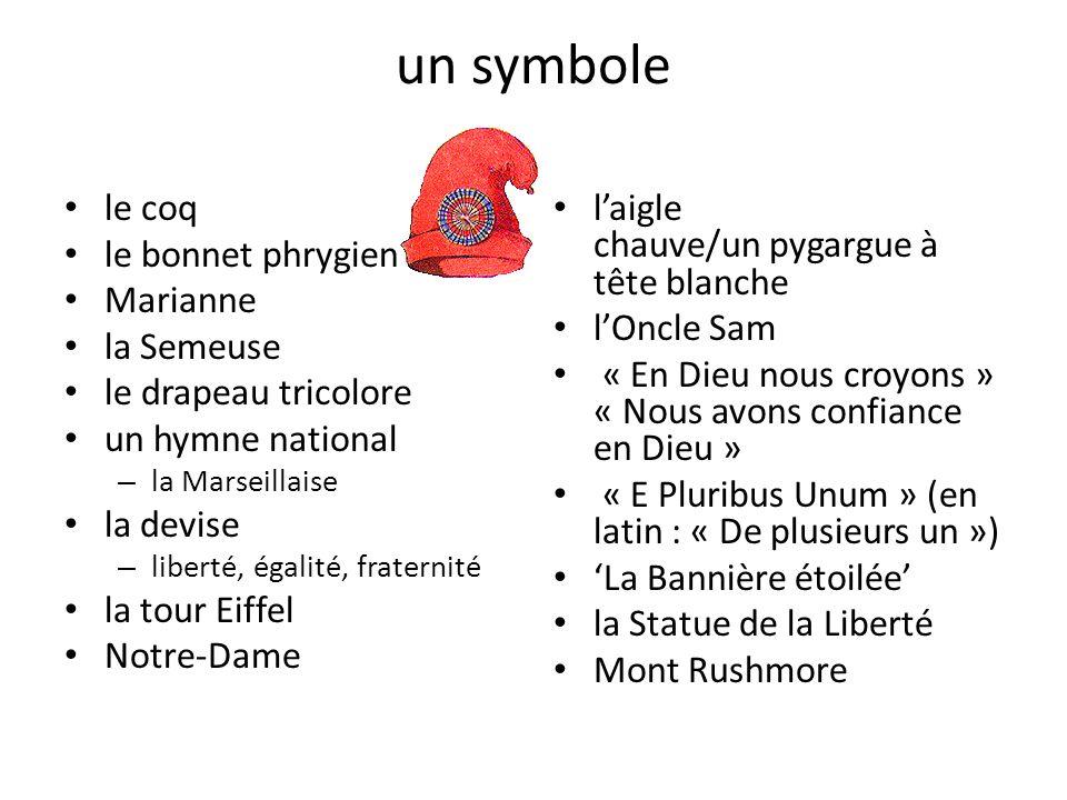 un symbole le coq le bonnet phrygien Marianne la Semeuse