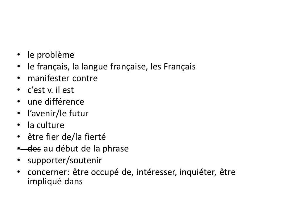le problème le français, la langue française, les Français. manifester contre. c'est v. il est. une différence.