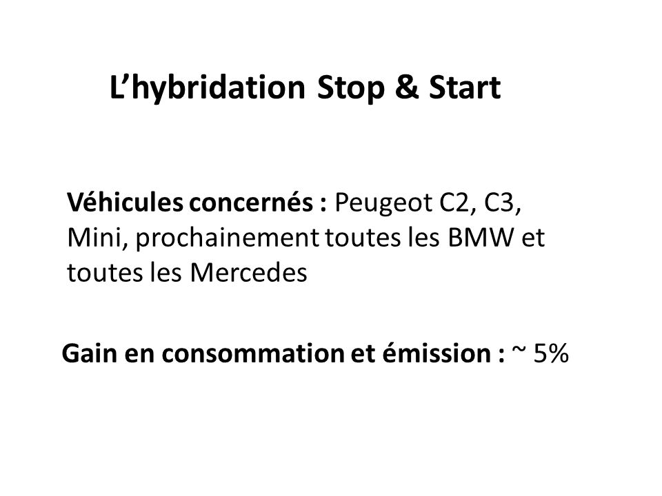 L'hybridation Stop & Start
