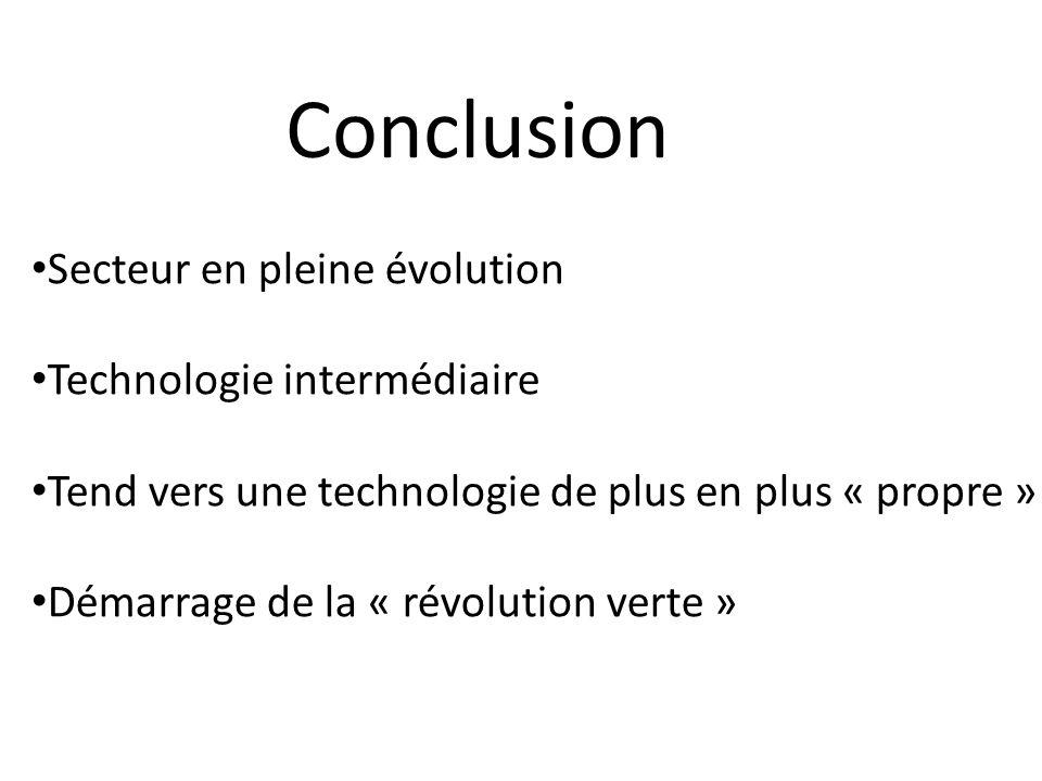 Conclusion Secteur en pleine évolution Technologie intermédiaire