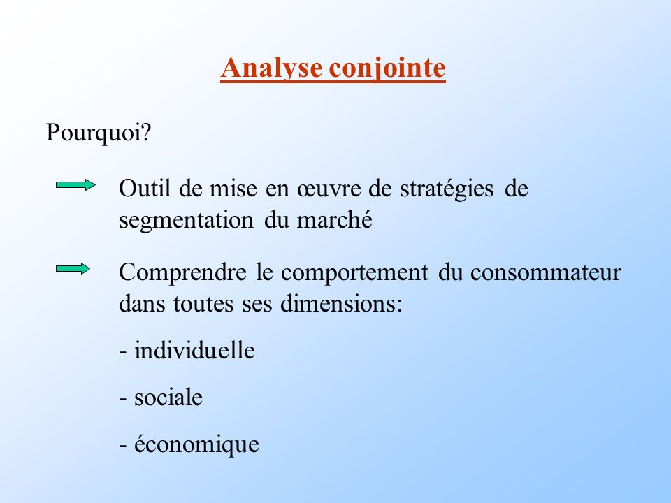 Analyse conjointe Pourquoi
