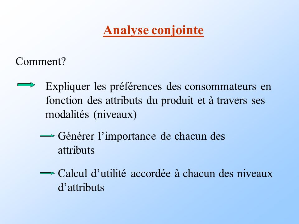Analyse conjointe Comment