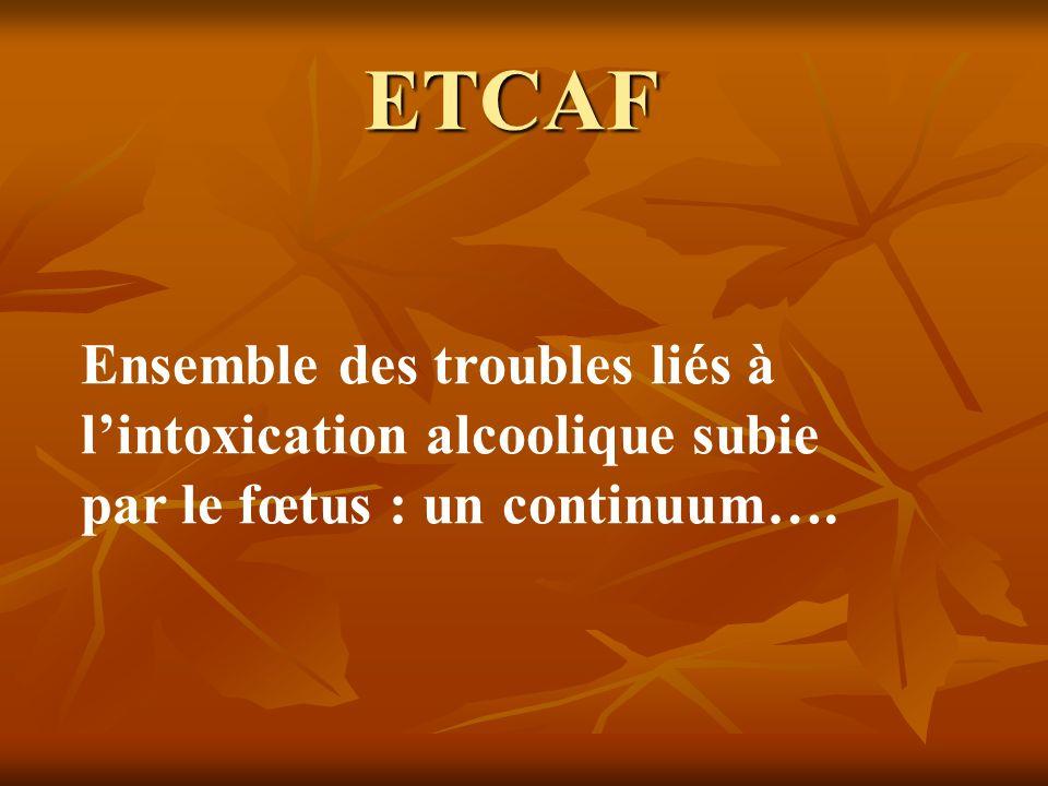 ETCAF Ensemble des troubles liés à l'intoxication alcoolique subie par le fœtus : un continuum….