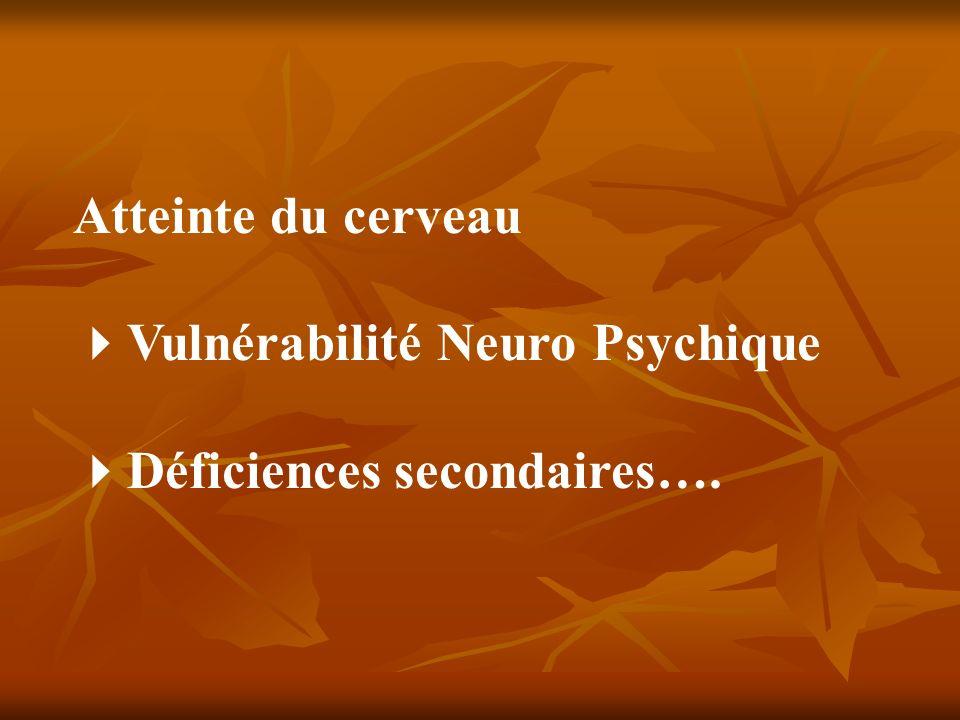 Atteinte du cerveau Vulnérabilité Neuro Psychique Déficiences secondaires….