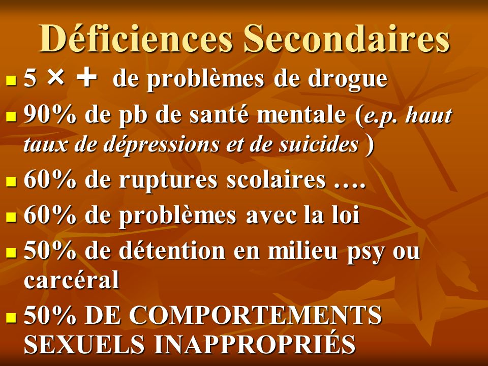Déficiences Secondaires