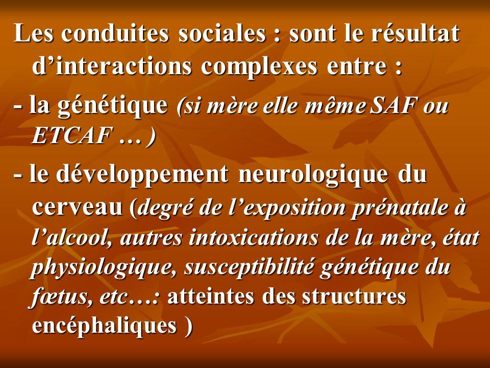Les conduites sociales : sont le résultat d'interactions complexes entre :