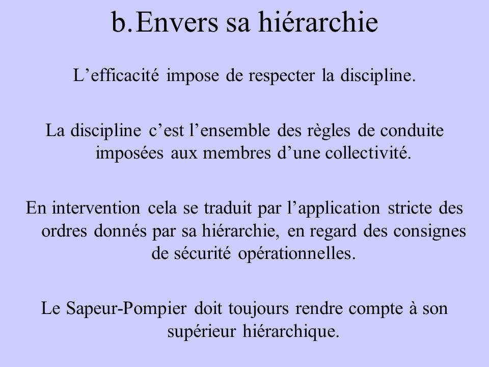 L'efficacité impose de respecter la discipline.