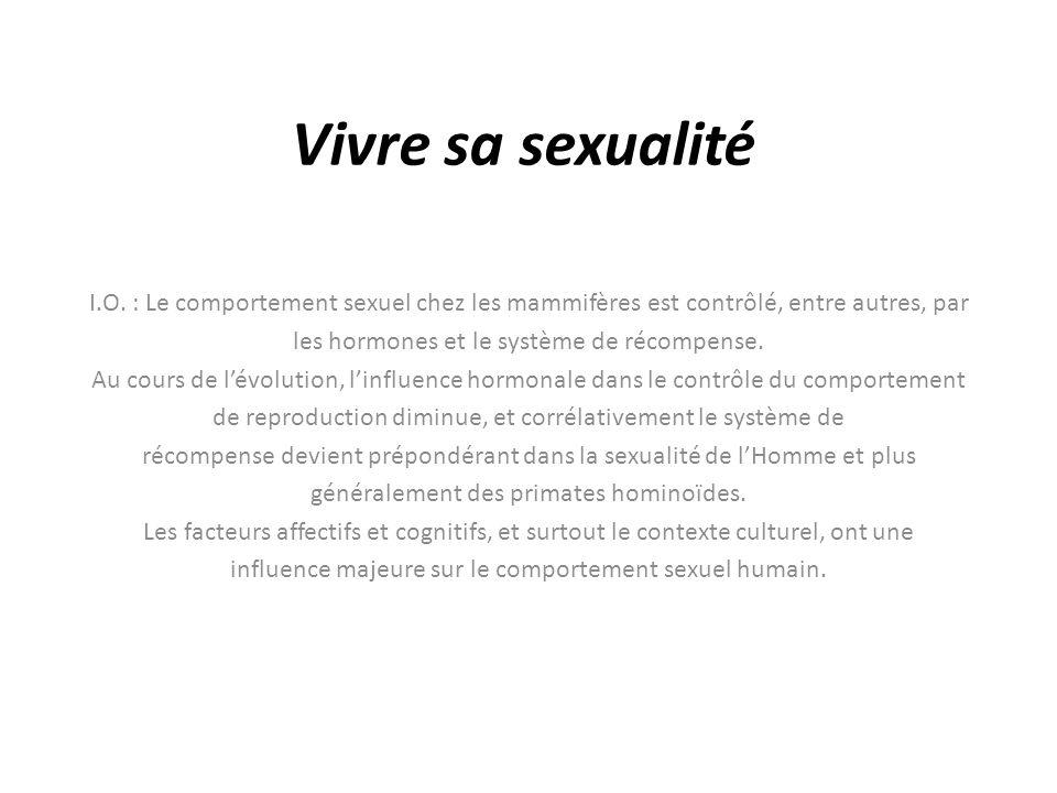 Vivre sa sexualité I.O. : Le comportement sexuel chez les mammifères est contrôlé, entre autres, par.