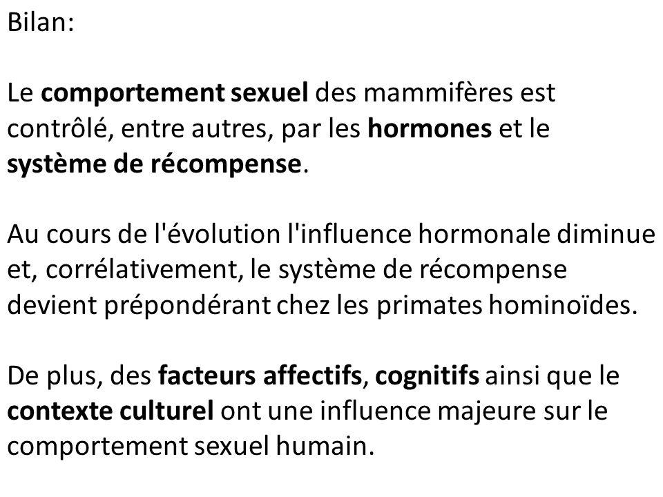 Bilan: Le comportement sexuel des mammifères est contrôlé, entre autres, par les hormones et le système de récompense.