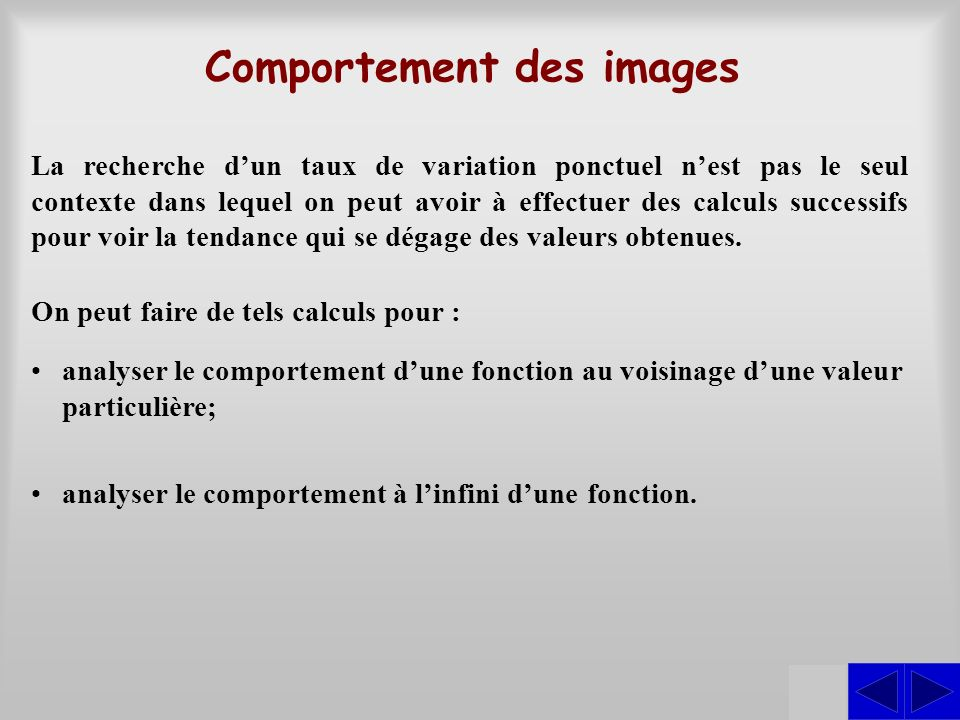 Comportement des images