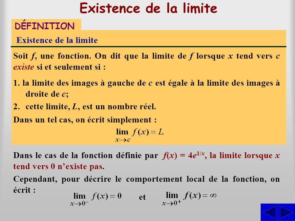 Existence de la limite DÉFINITION Existence de la limite