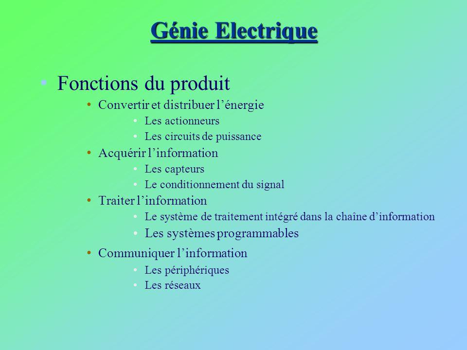 Génie Electrique Fonctions du produit
