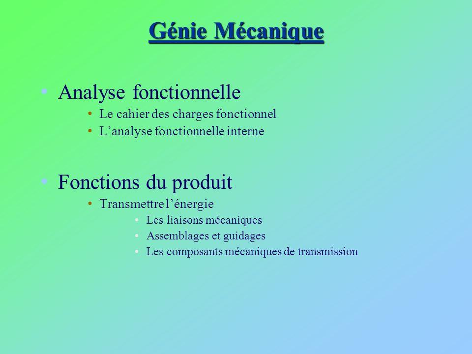 Génie Mécanique Analyse fonctionnelle Fonctions du produit