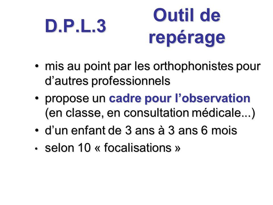 D.P.L.3 Outil de repérage. mis au point par les orthophonistes pour d'autres professionnels.