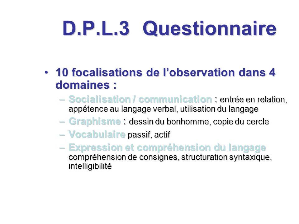 D.P.L.3 Questionnaire. 10 focalisations de l'observation dans 4 domaines :